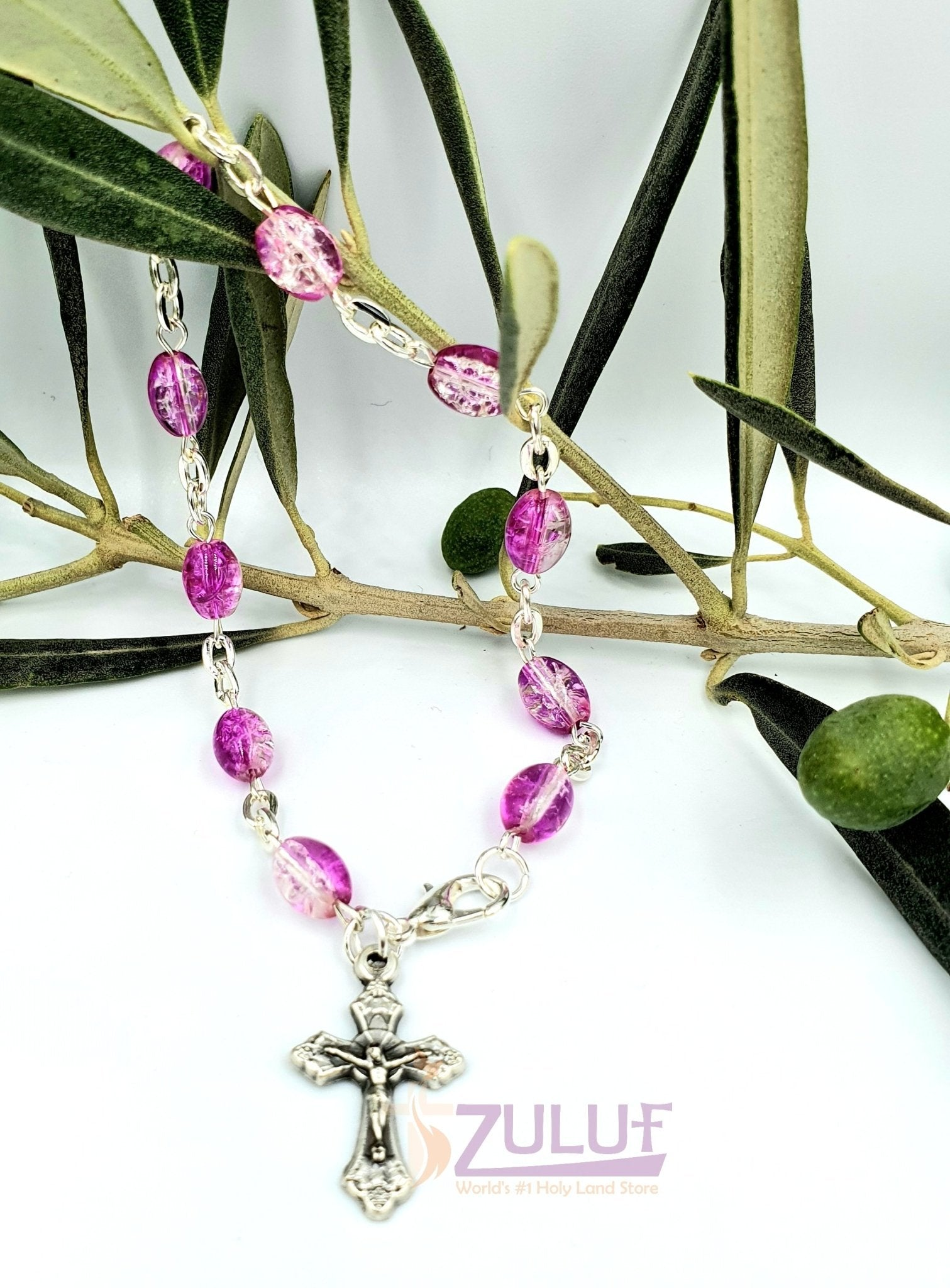 Crystal Rosary Bracelet With Silver Chain and Crucifix - BRA019 - Zuluf