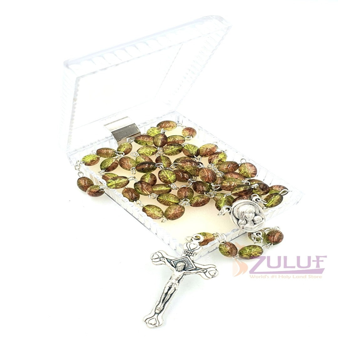 Crystal Rosary Holy Beads Catholic Necklace Holy Soil Medal & Crucifix - ROS030 - Zuluf