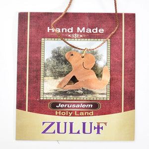 Dog Pendant Necklace Jewellery Charm Jewelry Olive Wood Gift Holy Land Israel (OW-PEN-018) - Zuluf