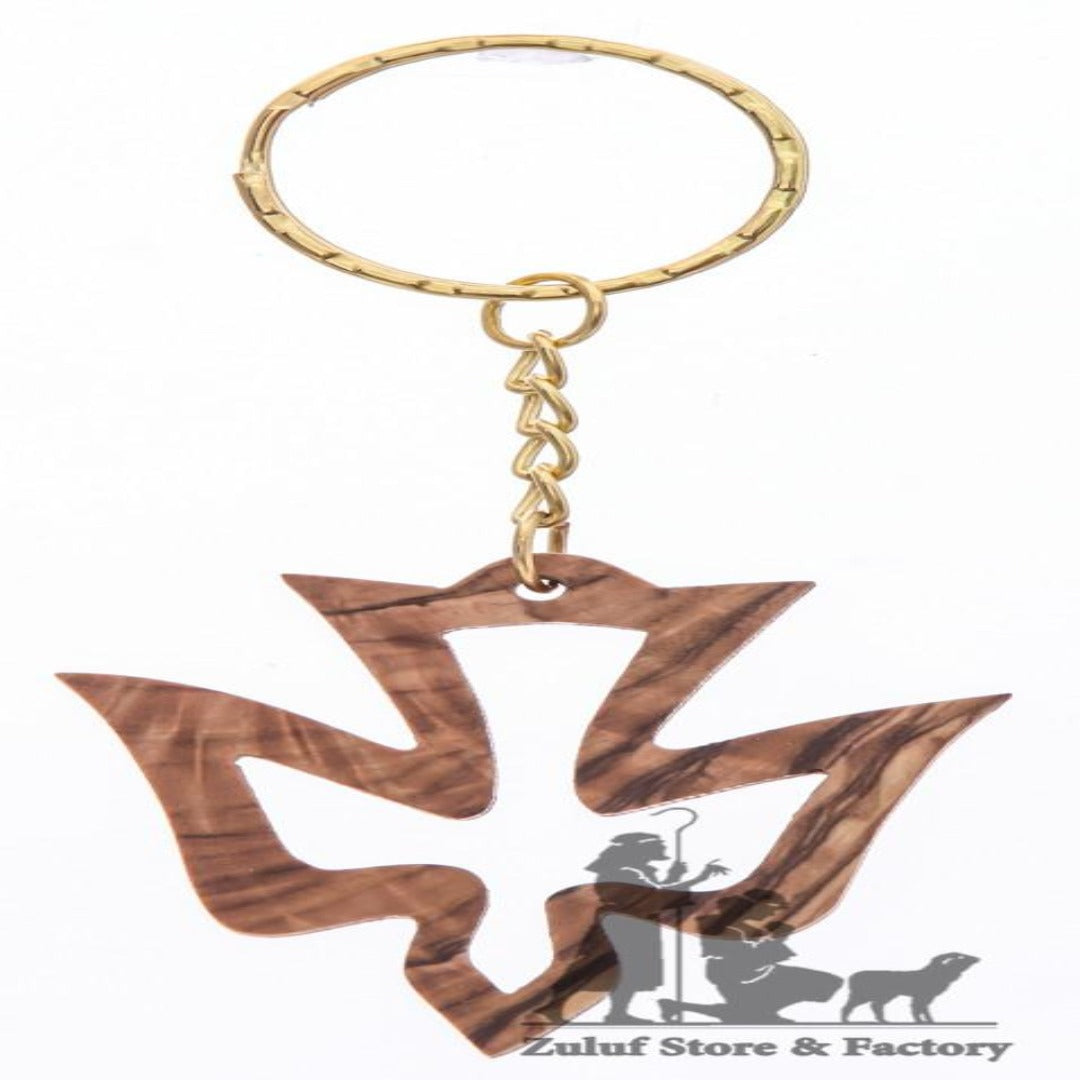 Dove Key Chain Hand Carved key chains from Olive Wood key ring (OW-KC-007) - Zuluf
