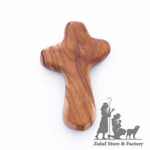 Free Olive Wood Hand Made Cross from the Holy Land - Zuluf