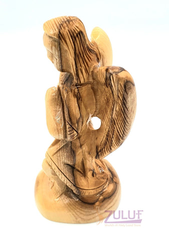 Image of Gabriel Archangel Olive Wood Statue Hand Made ANG038 - Zuluf