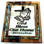 God bless our home Cross Magnet Religious Art Olive Wood mather of pearl Holy Land - MAG068 - Zuluf