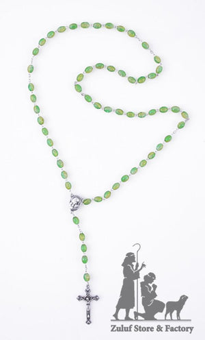Green Crystal Beads Rosary Catholic Necklace Hand Made Rosary - ROS031 - Zuluf