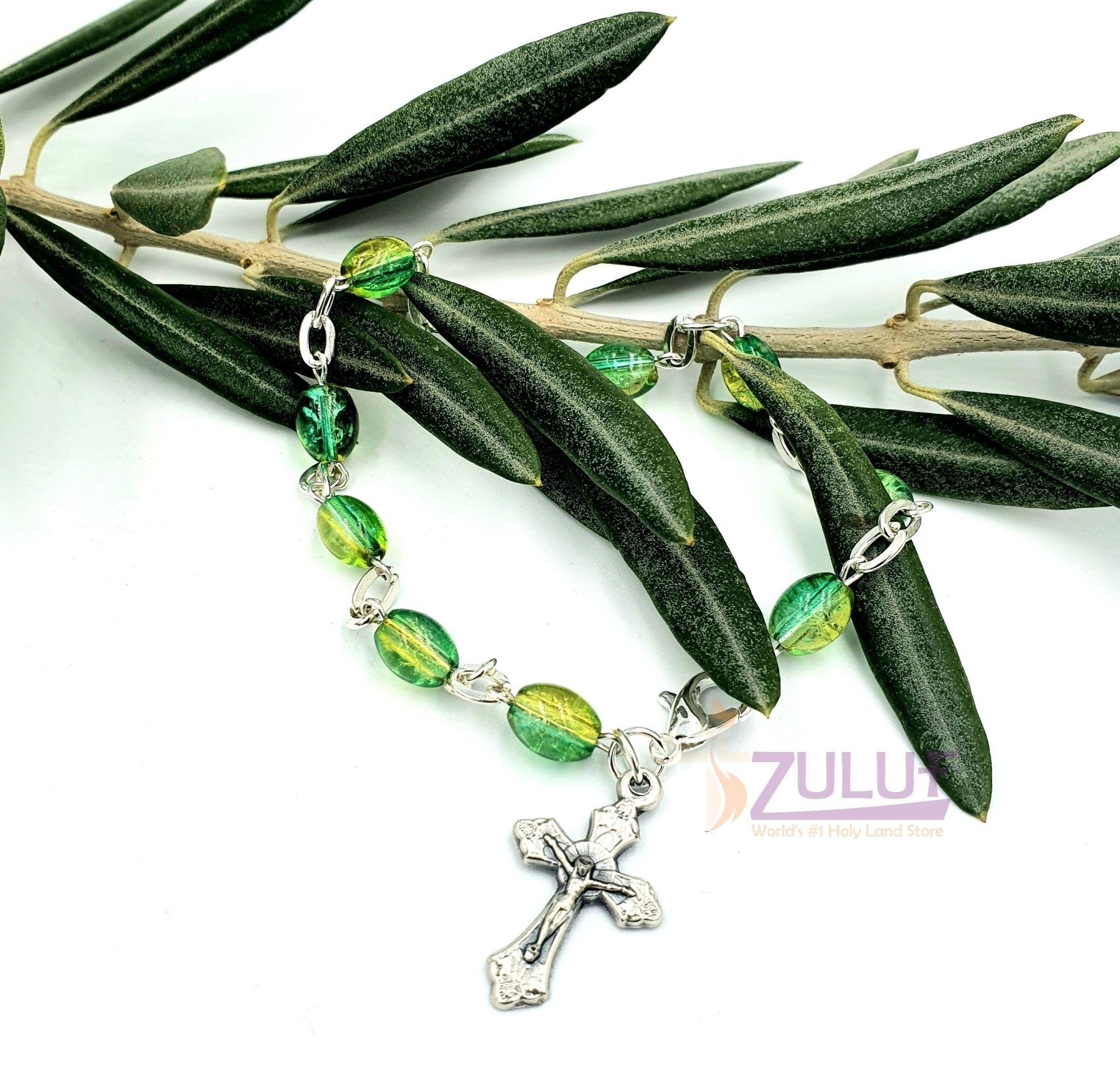 Green Crystal Rosary Bracelet With Silver Chain and Crucifix - BRA069 - Zuluf