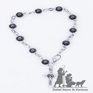 Hamatite Bracelet with Silver Chain and Crucifix Saint Benedict - BRA032 - Zuluf
