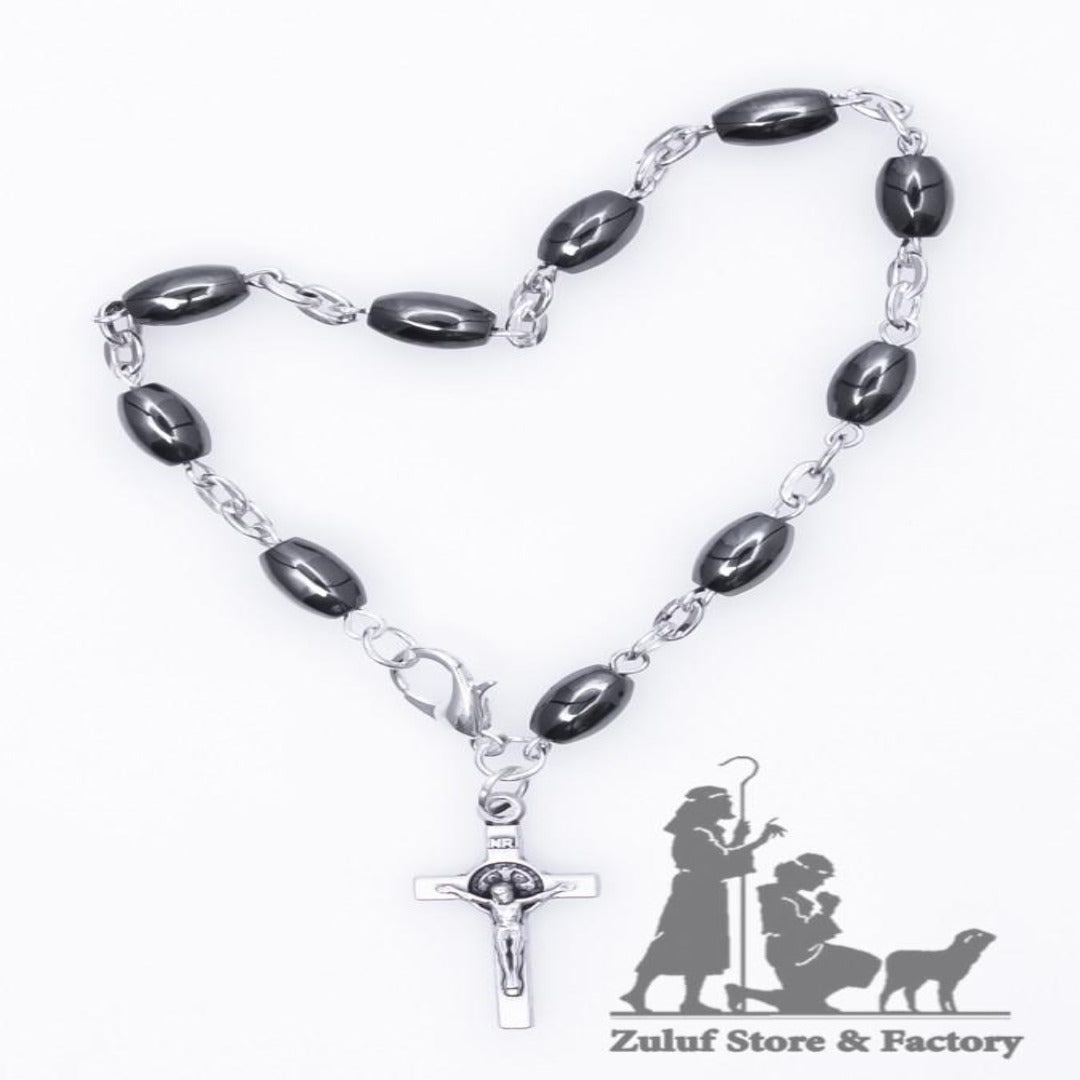 Hamatite Bracelet with Silver Chain and Crucifix Saint Benedict - BRA033 - Zuluf