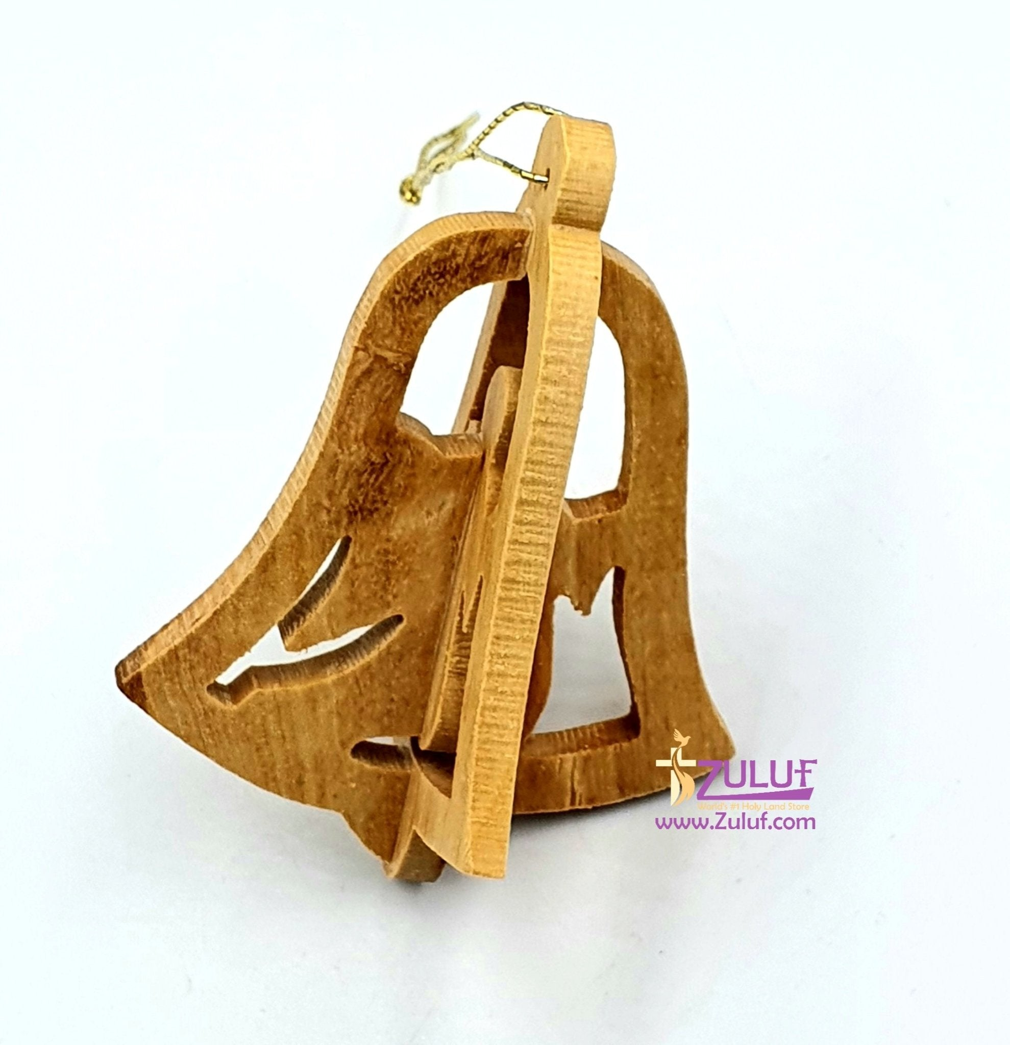 Hand Carved Bell Olive Wood 3d Ornament From Bethlehem Holy Land - Zuluf (ORN007) - Zuluf