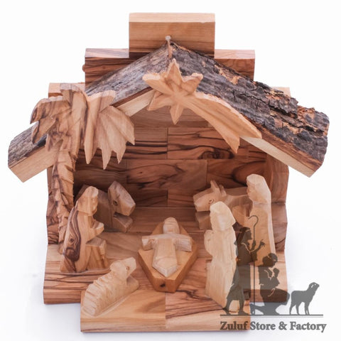 Hand Carved Children's Nativity Natural Olive Wood By Zuluf - 11X14.5X8.5CM/4.3X5.7X3.3in (NAT049) - Zuluf