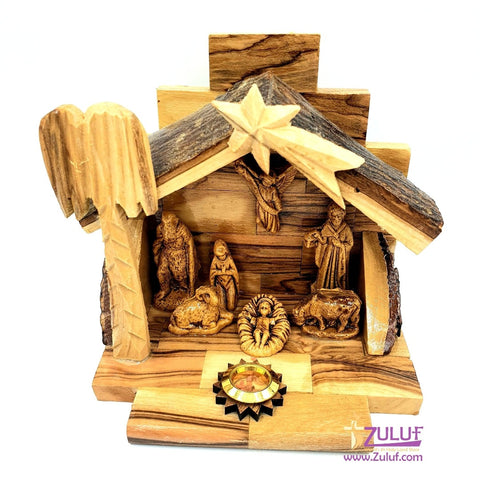 Image of Hand Carved Nativity Set Scene With Bark Roof Made In Bethlehem by Zuluf - NAT022 - Zuluf