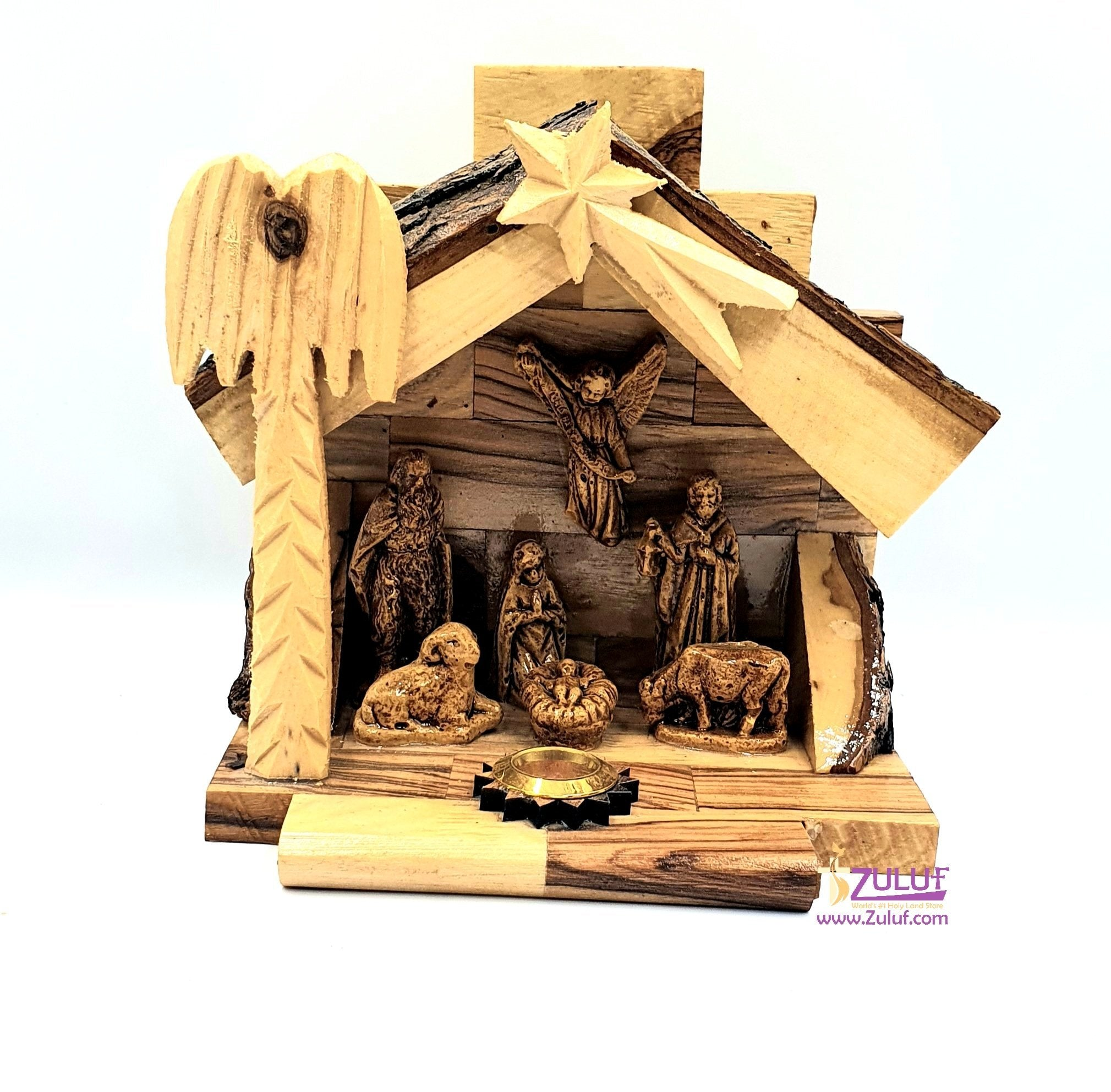 Hand Carved Nativity Set Scene With Bark Roof Made In Bethlehem by Zuluf - NAT022 - Zuluf