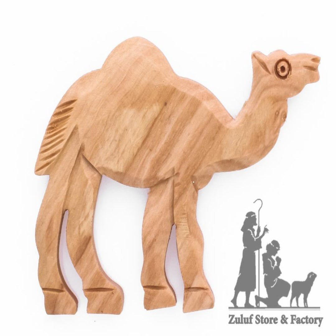 Hand Carved Olive Wood Camel Magnet 4.5X6CM/1.7X2.3in - By Zuluf Factory (HLG126) - Zuluf