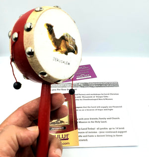 Hand held Drum Toy with Camel and Jerusalem Print with Zuluf Certificate - Zuluf