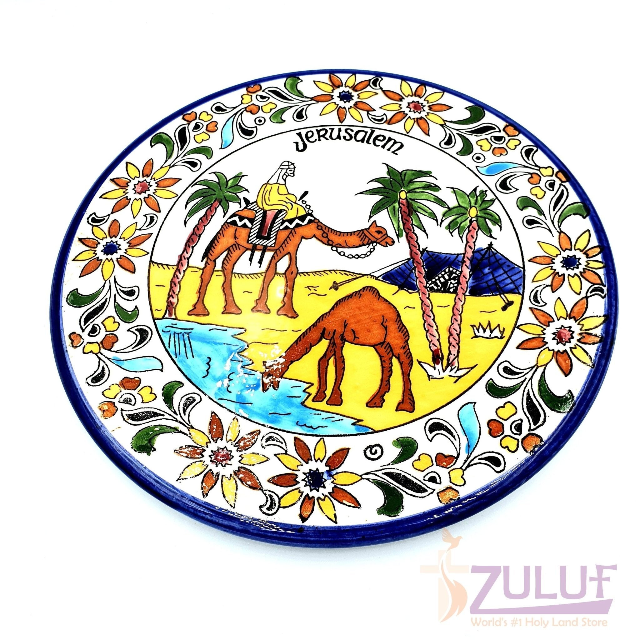 Hand Painted Armenian Round Ceramic Plate 22cm by Zuluf CER031 - Zuluf
