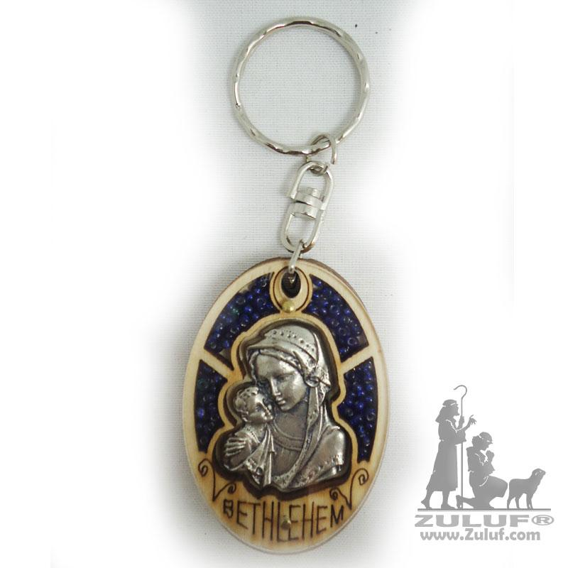 HandCrafted Christian Gift Key Chain Mary And Baby Jesus Zuluf® 5.5X4CM/2.1X1.57in - KC034 - Zuluf