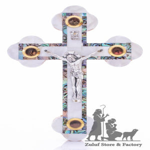 Handcrafted Orthodox Cross Inlaid With Mother Of Pearl By Zuluf® - 28X17.5CM/11X6.8in (MOP035) - Zuluf