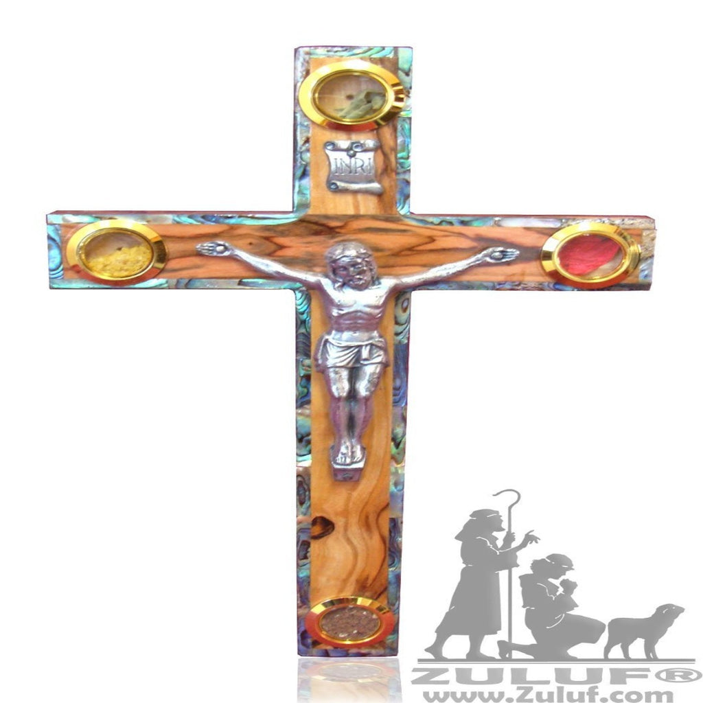 Handcrated Catholic Wall Olive Wood Cross Mother Of Pearl Inlaid Israel - 25X15CM/9.8X5.9in (MOP019) - Zuluf