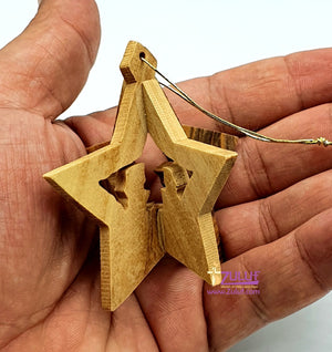 Handmade Nativity Star Olive Wood 3 Dimensional Ornament From Israel Holy Land Zuluf - (ORN010) - Zuluf