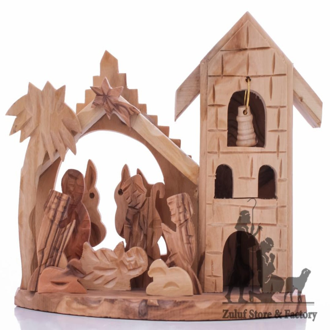Handmade Olive Wood Stable Nativity With Set By Zuluf® - 13X11X7.5CM/5.1X4.3X2in (NAT052) - Zuluf