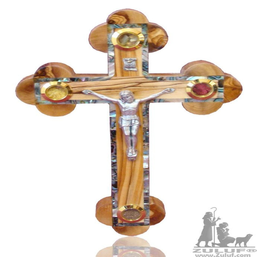 Handmade Orthodox Cross Inlaid In mother Of Pearl Olive Wood Jerusalem Zuluf® - 22X13.5CM/8.6X5.3in (MOP016) - Zuluf