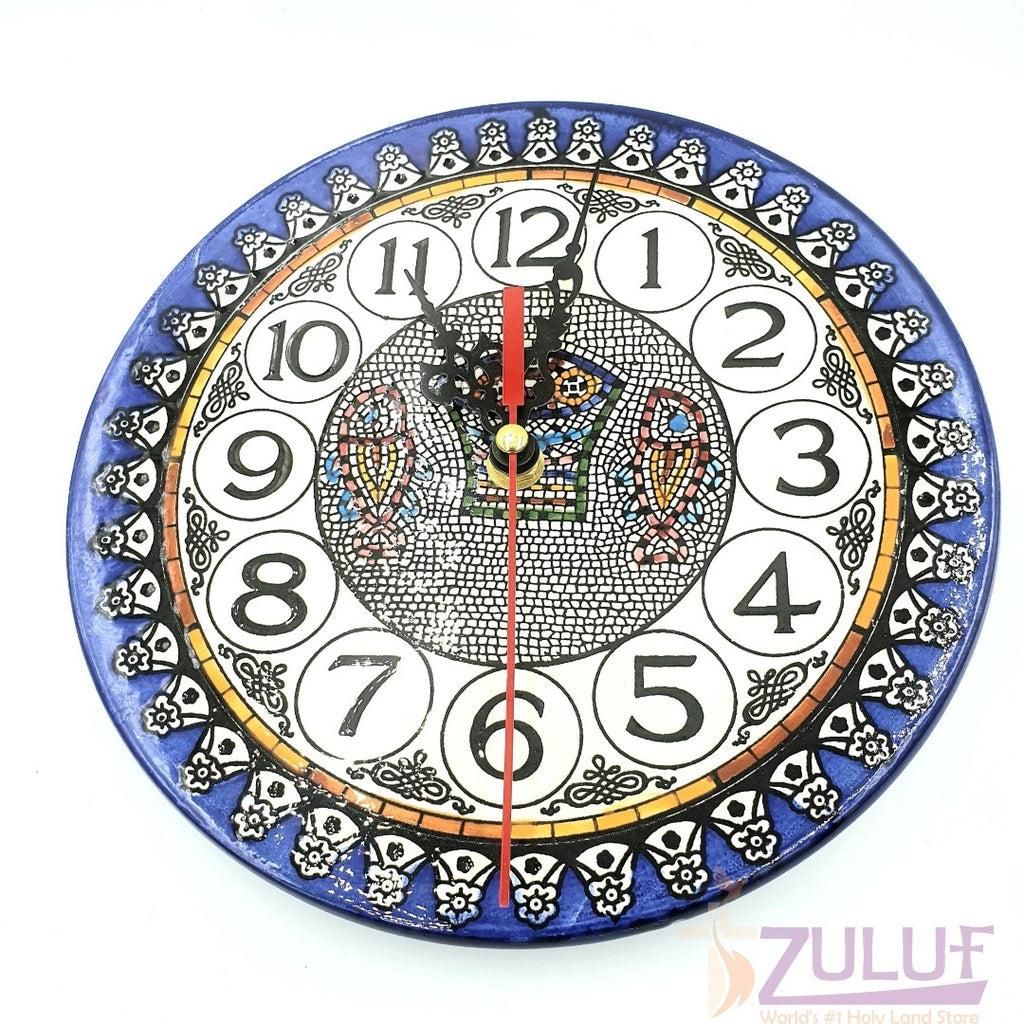 "handmade wall hanging Clock Hand Made Ceramic Wall Clock by Zuluf 27cm / 10"" CER036 - Zuluf"