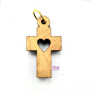 Heart Cross Olive Wood Charm Zuluf Gifts - PEN067 - Zuluf