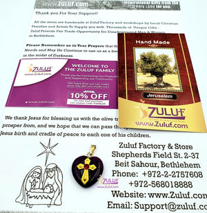 Heart Shaped Purple Bethlehem Stone by Zuluf PEN200 - Zuluf