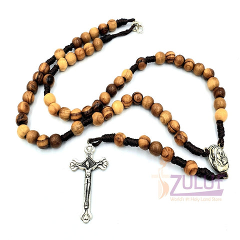 Image of High Quality Olive Wood Bead Rosary From Bethlehem By Zuluf Co. (ROS057) - Zuluf