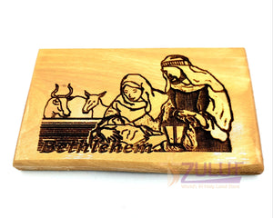 Holy family bethlehem hand made Magnet Religious Art Olive Wood Holy Land - MAG081 - Zuluf