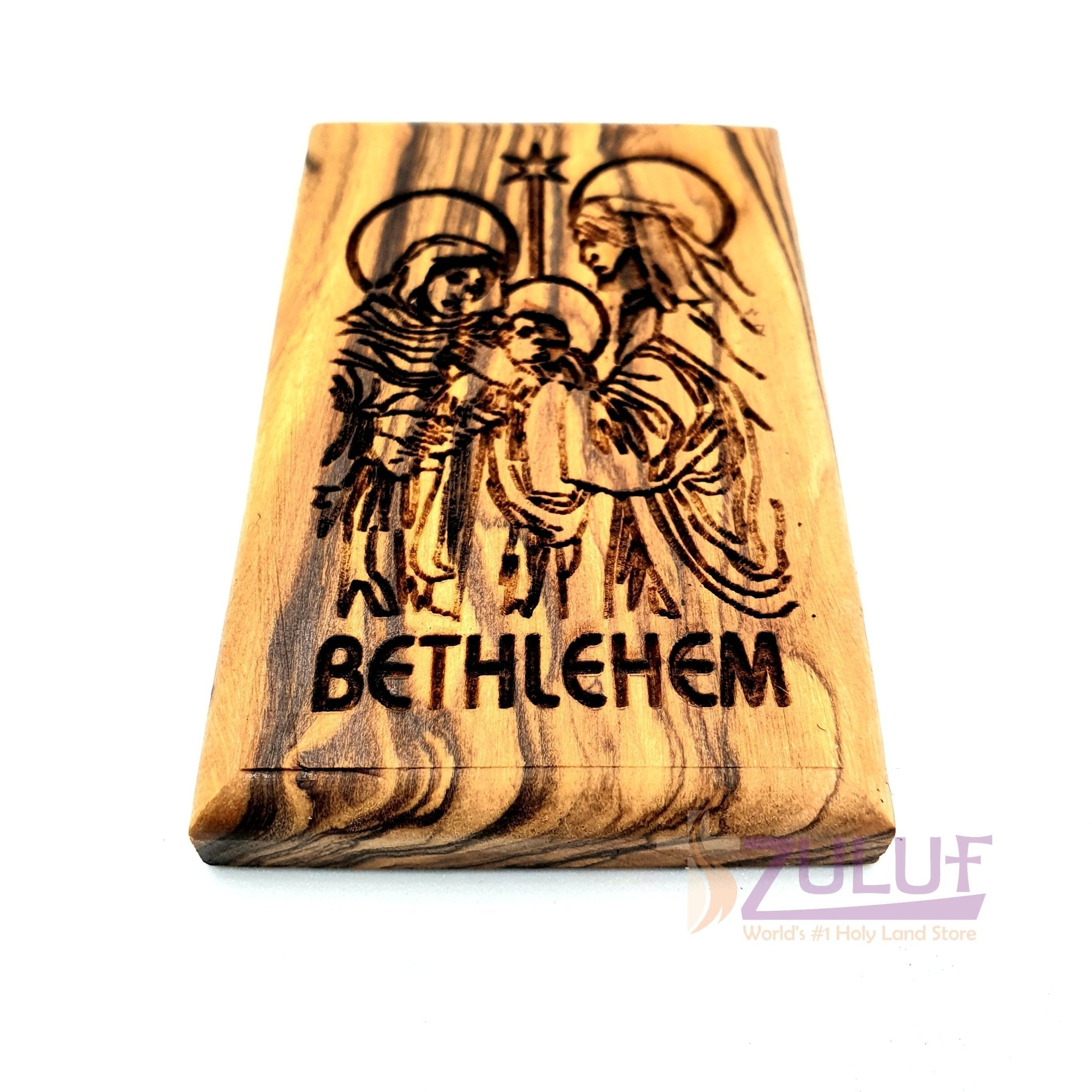 Holy family bethlehem star hand made Magnet Religious Art Olive Wood Holy Land - MAG080 - Zuluf
