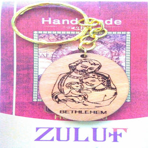 Holy Family Olive Wood Engraved Olive Wood Key Chain - Zuluf KC067 - Zuluf