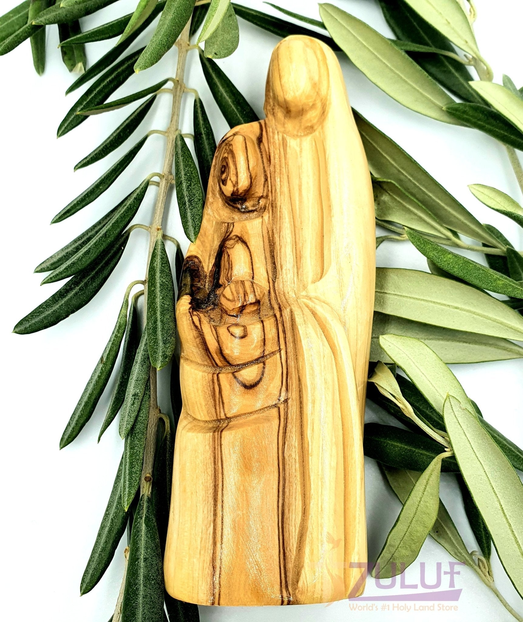Holy Family Olive Wood Figure Made In The Holy Lands Zuluf - 15X6CM/5.9X2.3in (HOF015) - Zuluf