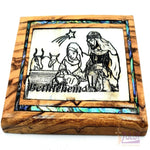 Holy family star of bethlehem Magnet Religious Art Olive Wood mather of pearl Holy Land - MAG072 - Zuluf