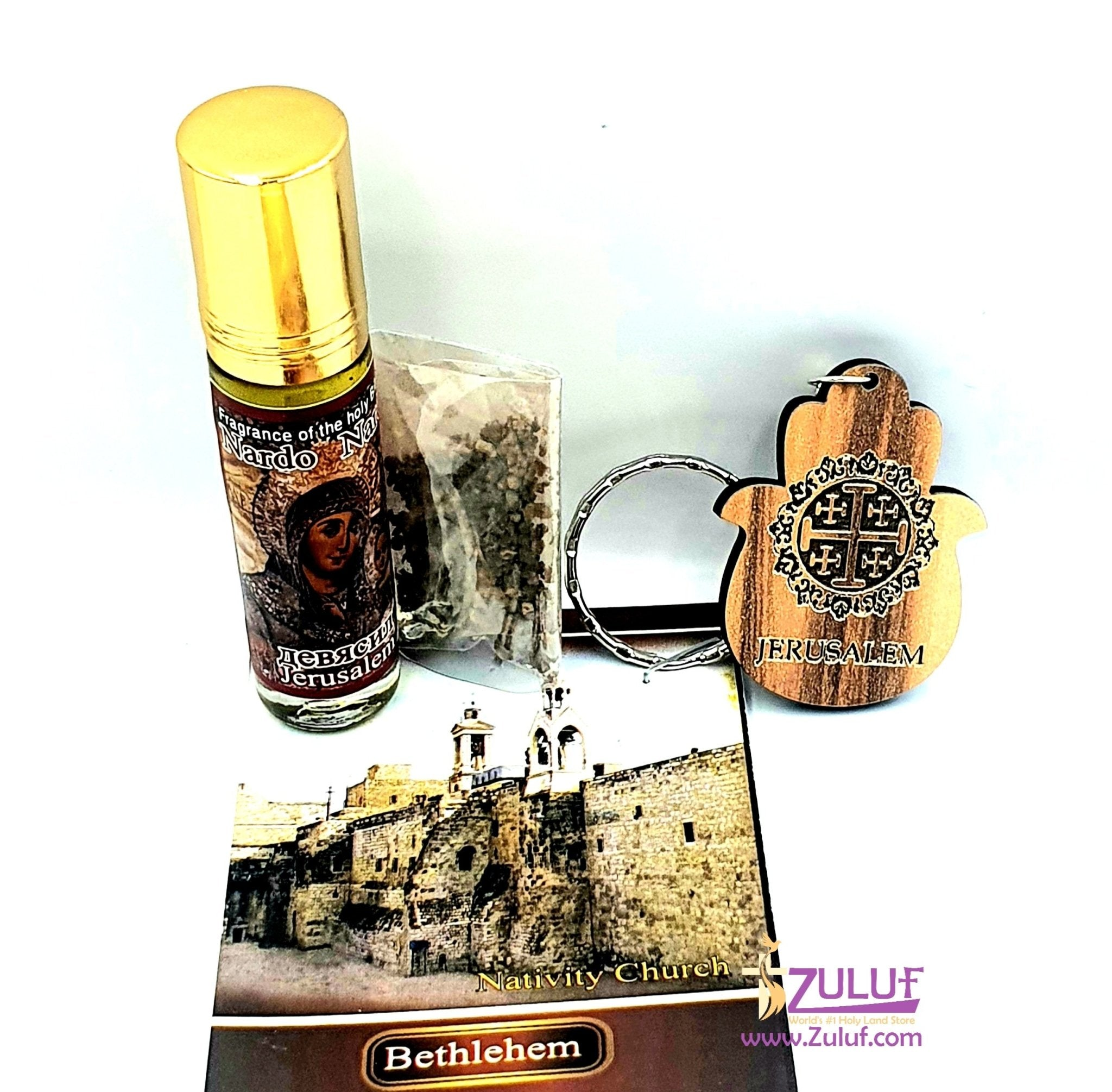 Holy land gifts Anointing oil key chain and soil bethlehem HLG014 - Zuluf