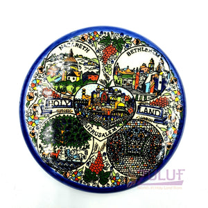 "Holy Land Magnet - Round Magnetic Ceramic Souvenir Hand Made 6cm / 2.3"" CER010 - Zuluf"