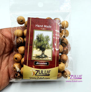 Holy land Olive wood Bead 10mm round beads hand made Bethlehem ( 60 Beads ) - BEAD009 - Zuluf