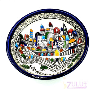 "Holy Land Pottery Bowl - Hand Made Ceramic 15cm / 6"" Deep Bowl CER006 - Zuluf"
