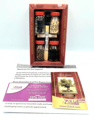 Holy Land Zuluf Set of 5 in 1 Olive Wood Cross Set with 4 Bottles -Holy Oil, Jordan River Water, Holy Earth & Holy Frankincense Gift Pack - HLG207 - Zuluf