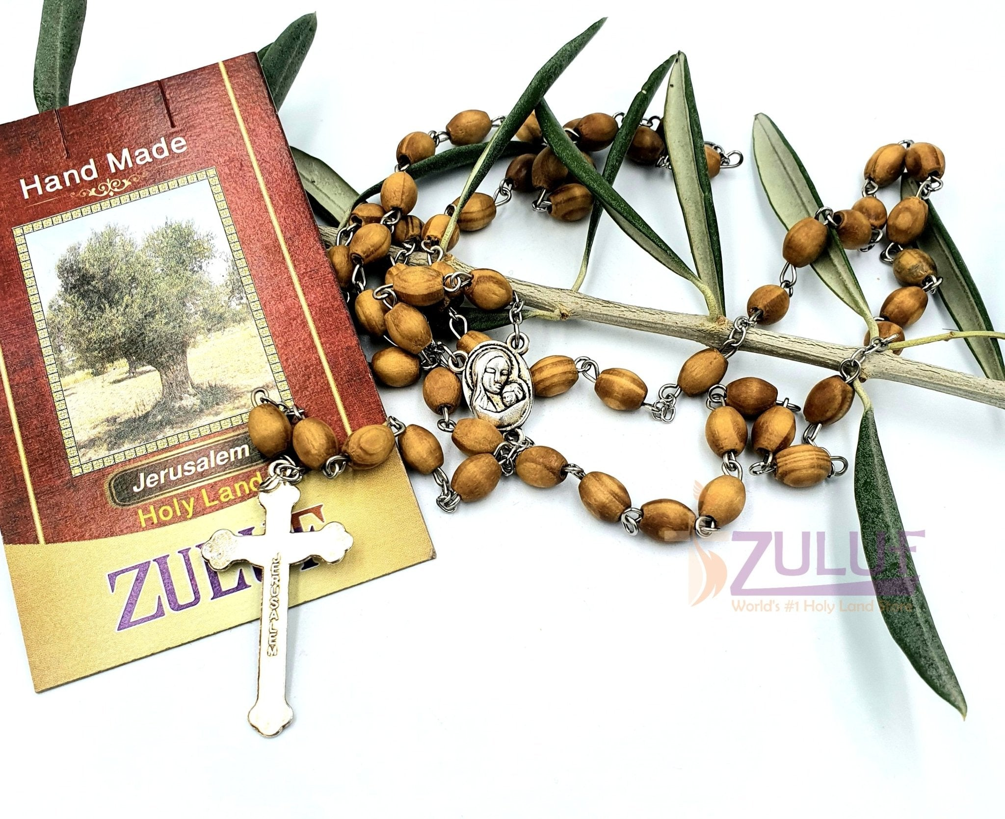 Holy Rosary - Olive Wood Beads Rosary With Silver Crucifix By Zuluf (ROS002) - Zuluf