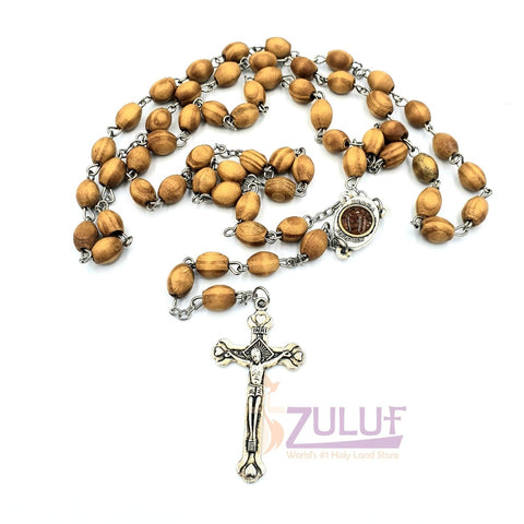 Image of Holy Rosary - Olive Wood Beads Rosary With Silver Crucifix By Zuluf (ROS002) - Zuluf
