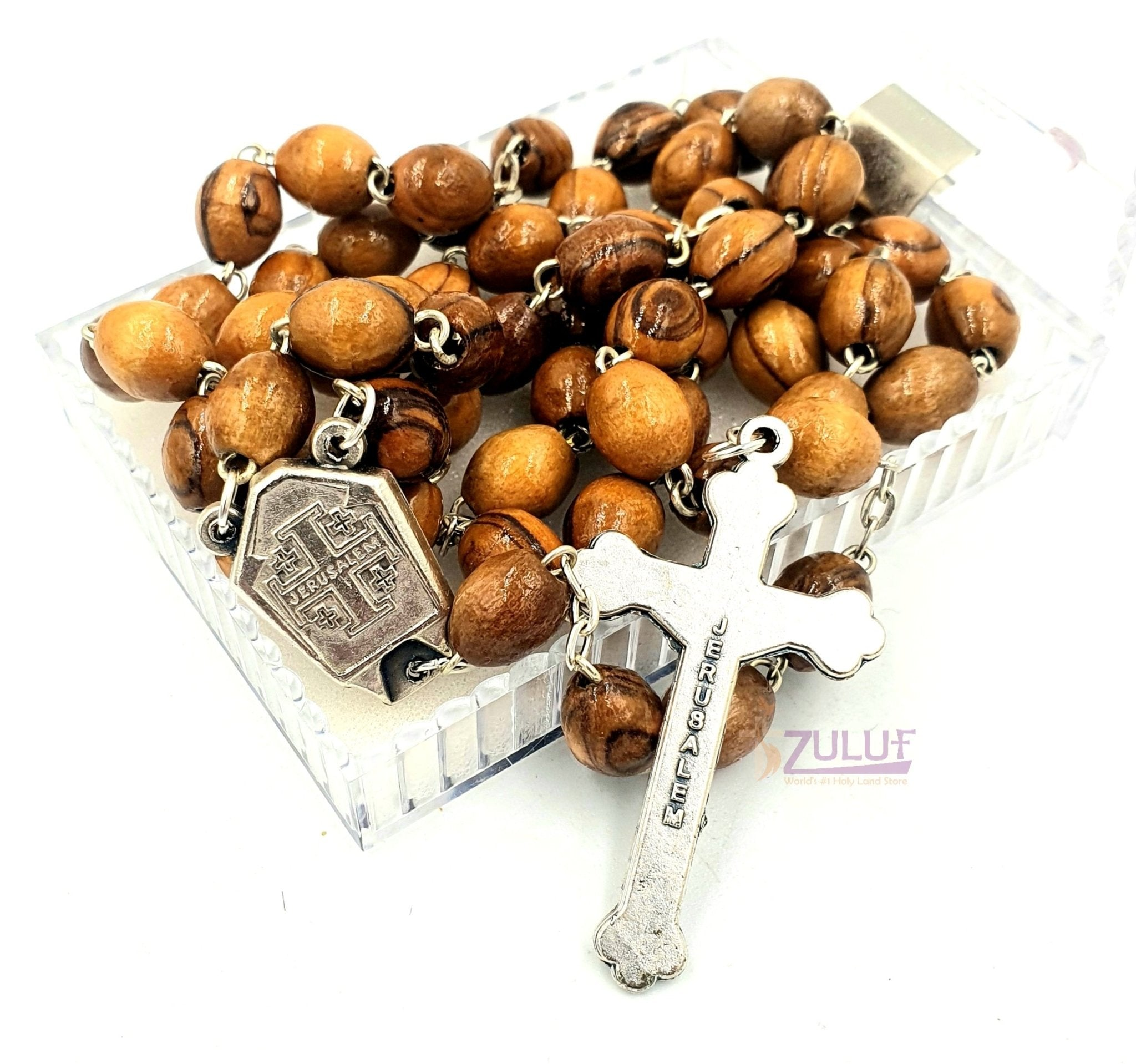 Holy Water Rosary - Unique Olive Wood Rosary Made In Bethlehem (ROS003) - Zuluf