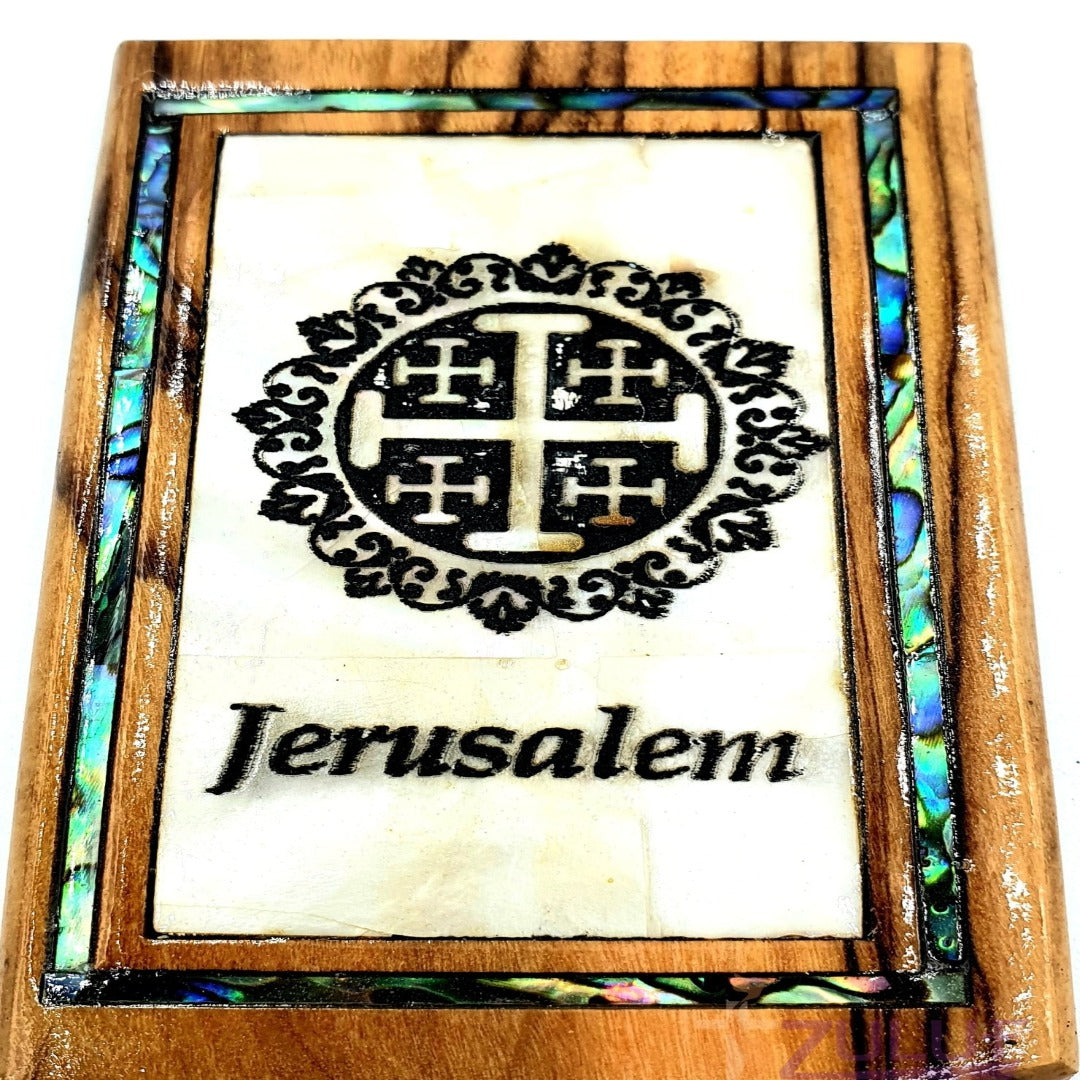 Jerusalem circle cross Magnet Religious Art Olive Wood mather of pearl Holy Land - MAG073 - Zuluf