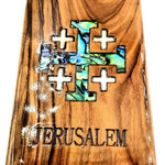 Jerusalem Cross Magnet Religious Art Olive Wood mather of pearl Holy Land - MAG067 - Zuluf