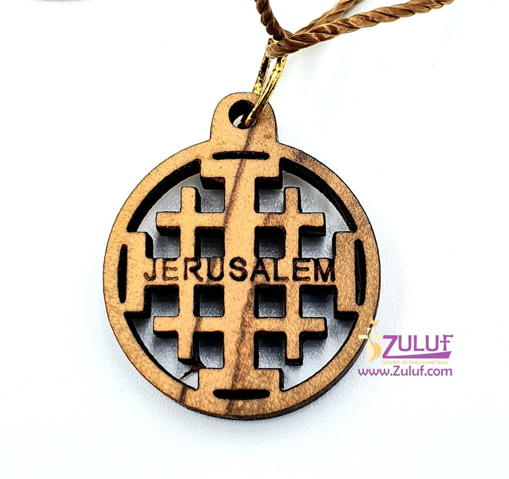 Jerusalem Cross Necklace Pendant Jewelry Olive Wood Hand Made - PEN139 - Zuluf