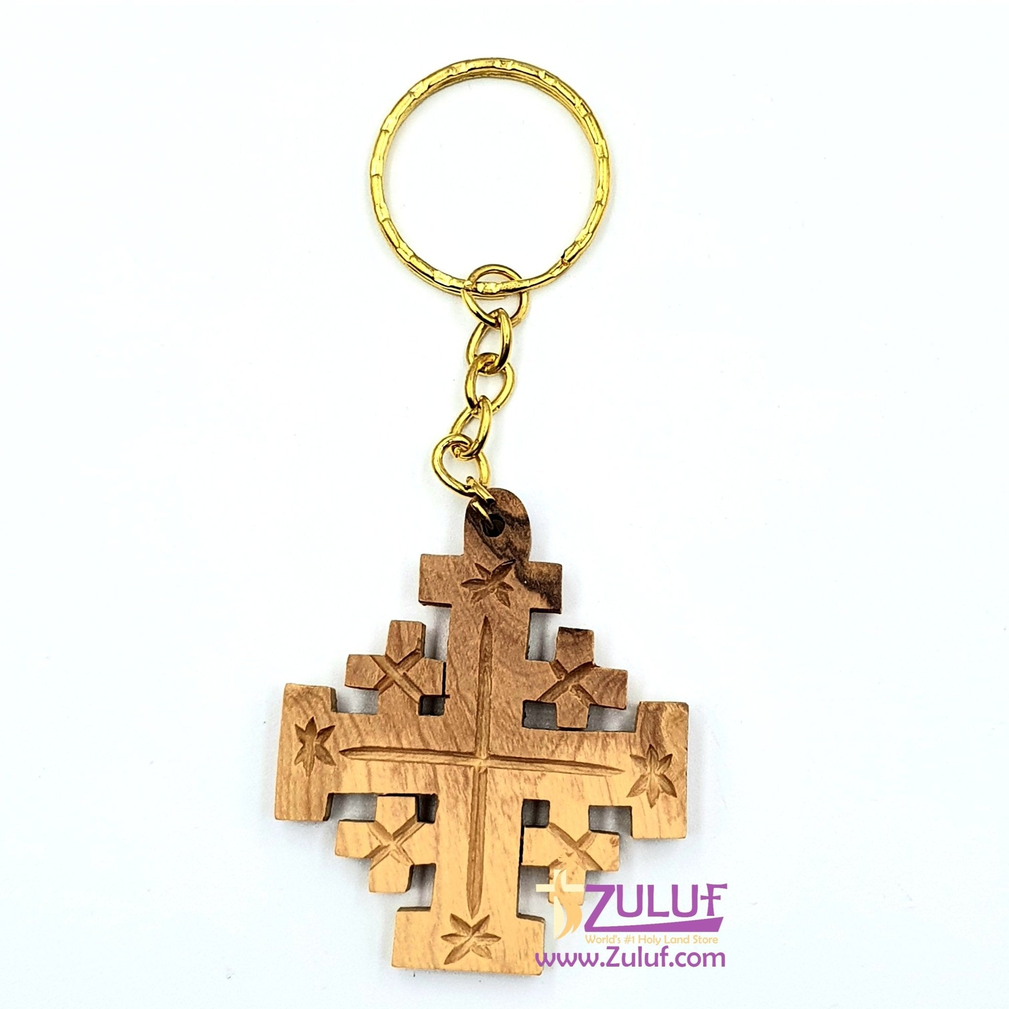 Jerusalem cross olive wood hand made key chain KC206 - Zuluf