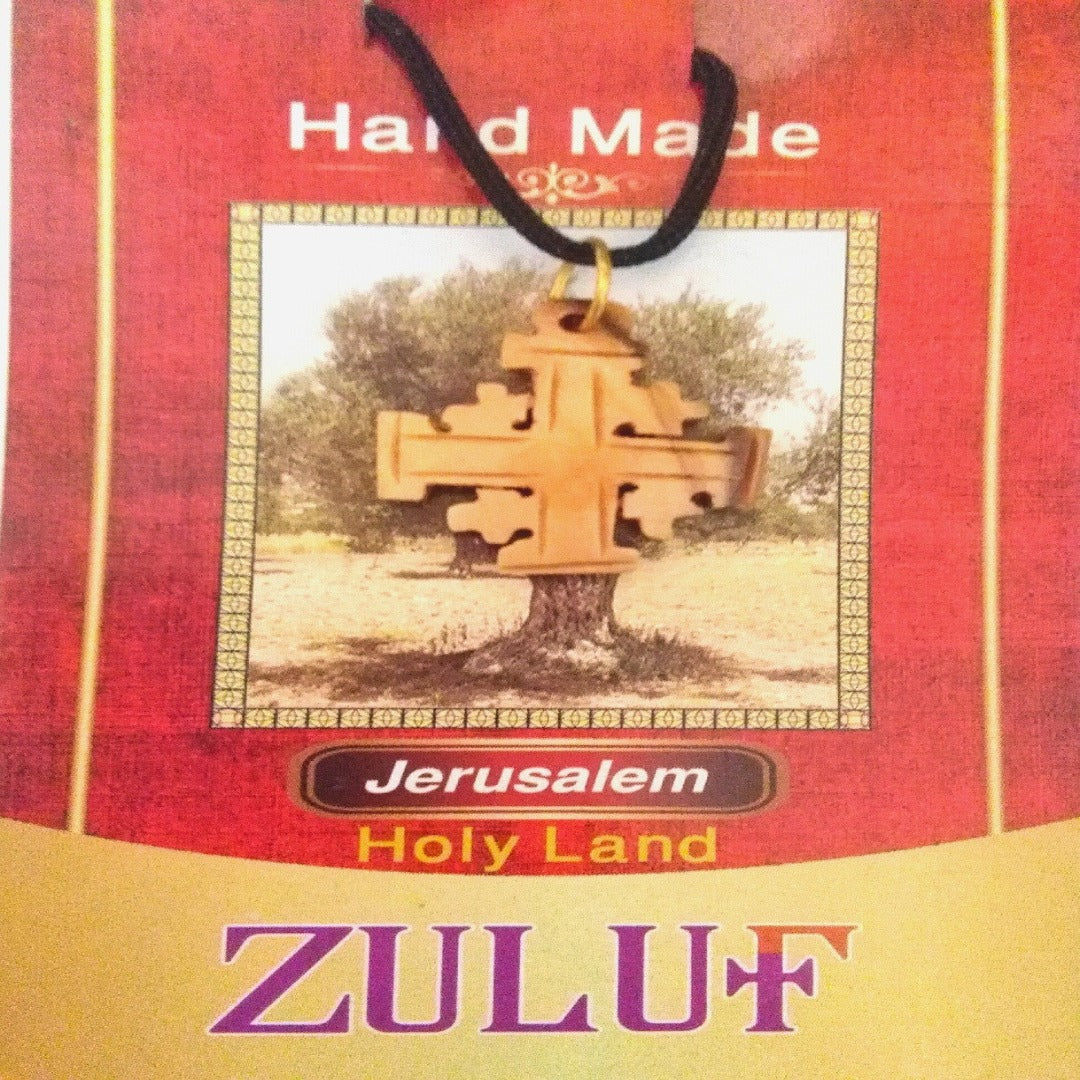 Jerusalem Cross Pendant Necklace Olive Wood Catholic Crusader Holy Land Bethlehem - PEN170 - Zuluf
