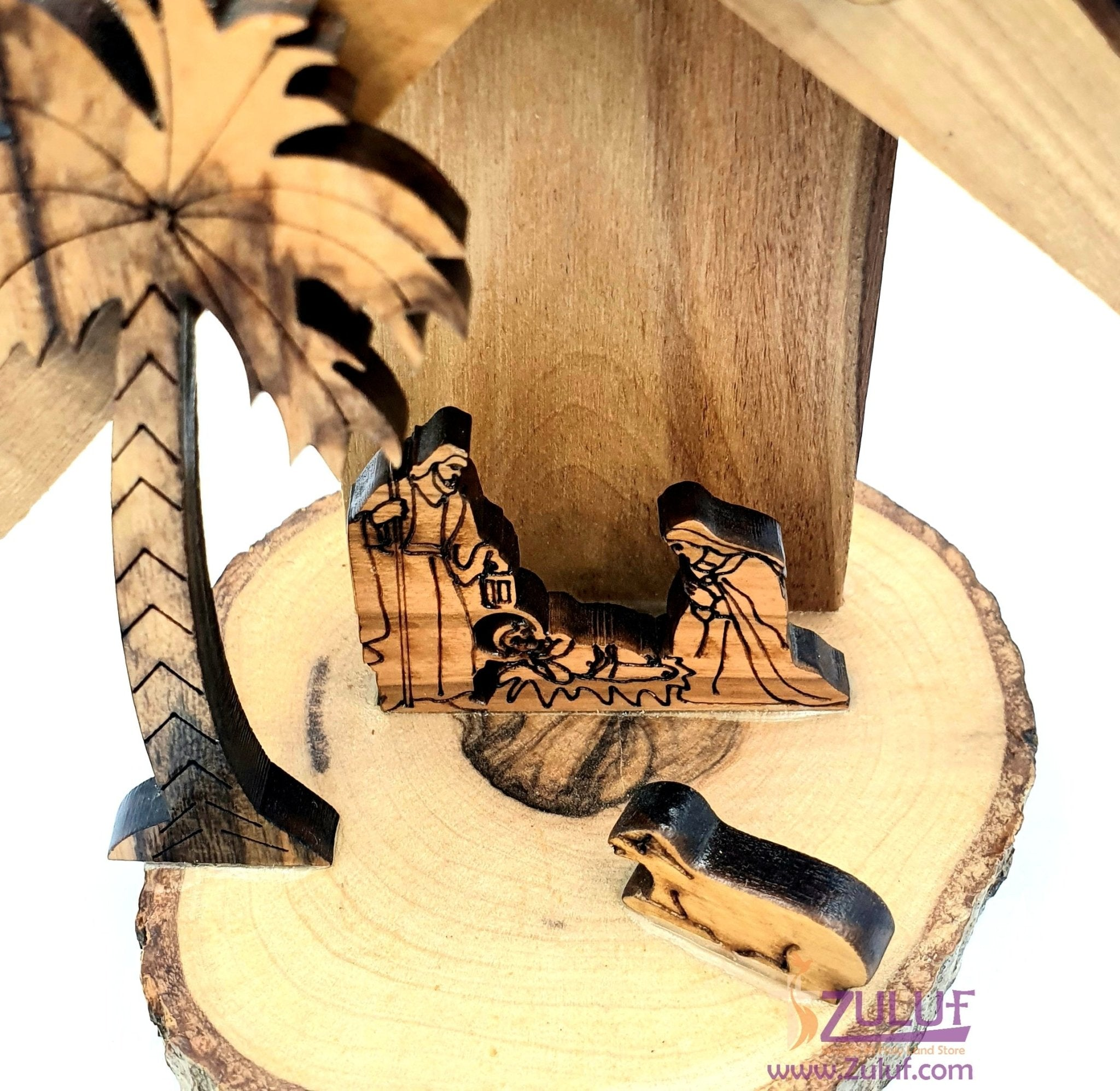 jerusalem decor holyland gifts Carved Nativity Olive wood NAT071 - Zuluf