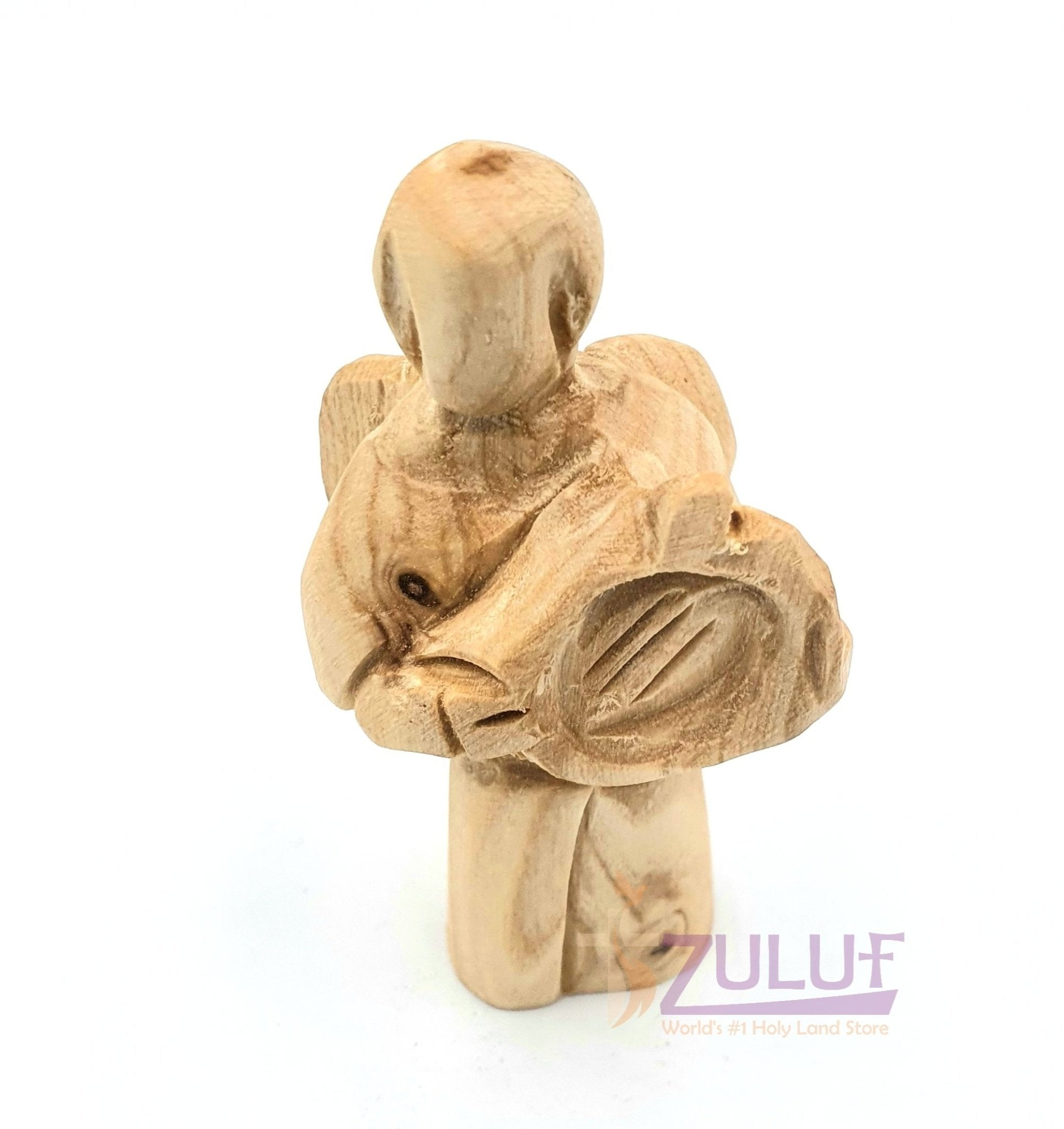 Jerusalem Israel Olive Wood Angel ANG043 - Zuluf