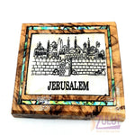 Jerusalem Magnet Religious Art Olive Wood mather of pearl Holy Land - MAG077 - Zuluf