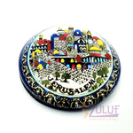 Jerusalem Old City Glass Circle Christian Art Gifts Magnets Mag106 - Zuluf
